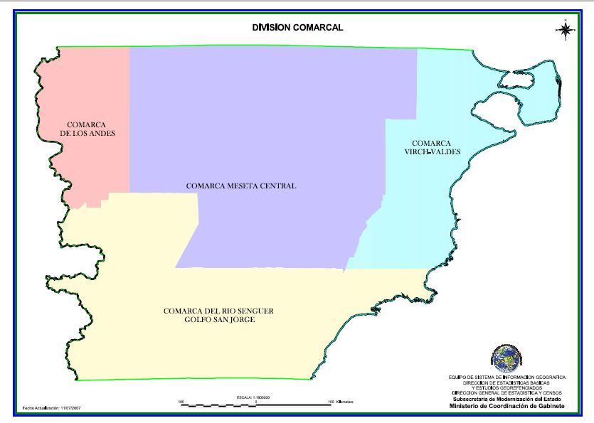 mapa división comarcal