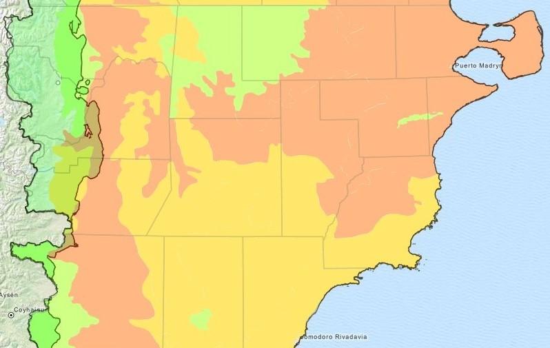 Ilustración 16: Mapa de Chubut, según grados de degradación