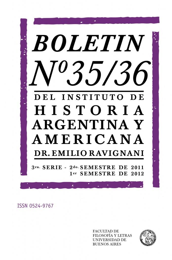 Boletín N° 35-36 del Instituto de Historia Argentina y Americana, Dr. Emilio Ravignani
