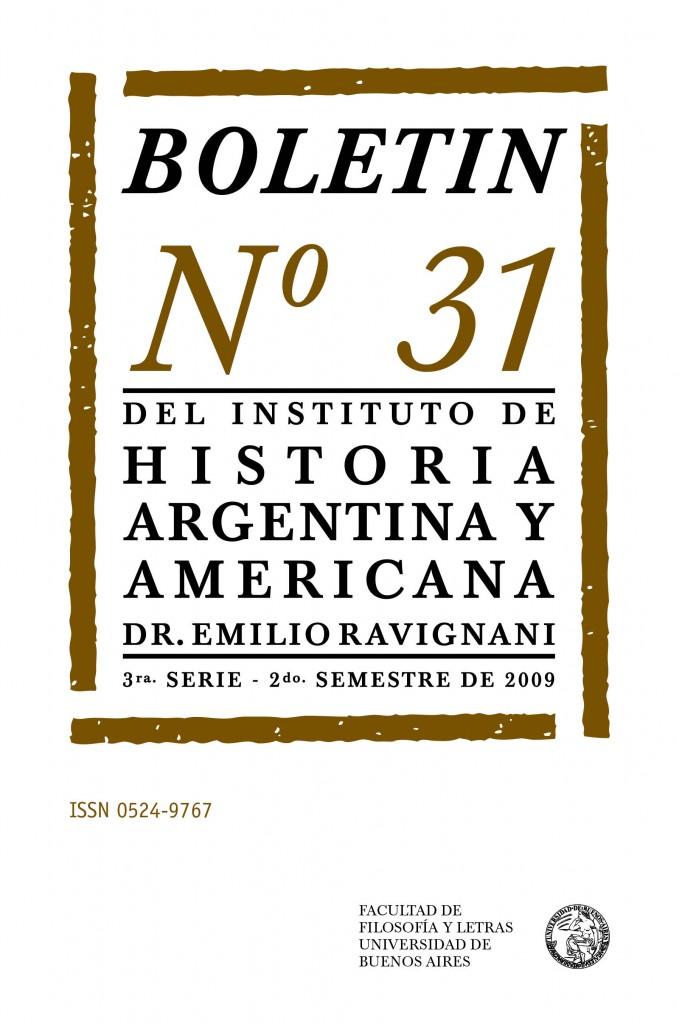 Boletín N° 31 del Instituto de Historia Argentina y Americana, Dr. Emilio Ravignani